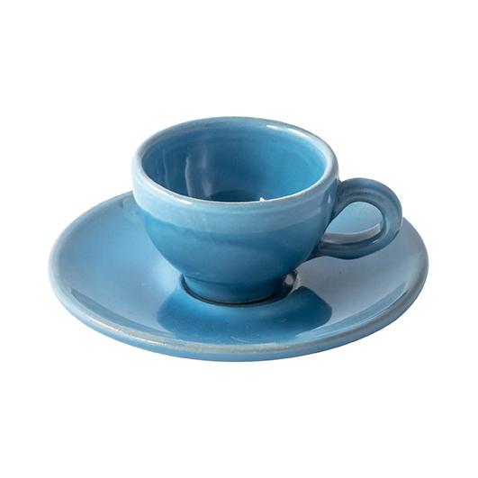Ceramiche artistiche di Grottaglie: Tazzina azzurra in maiolica smaltata
